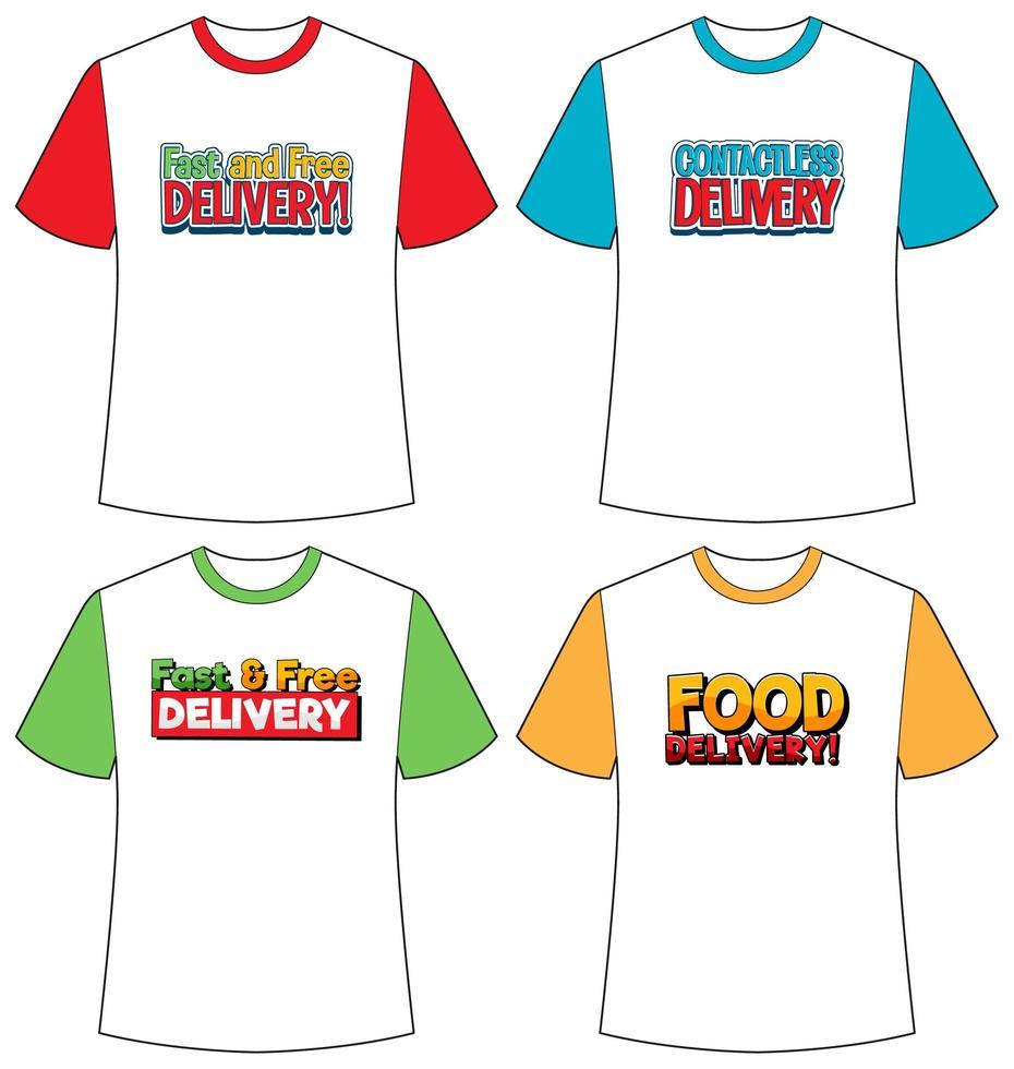 set di diversi tipi di schermo del logo di consegna su t-shirt di colore diverso isolato vettore