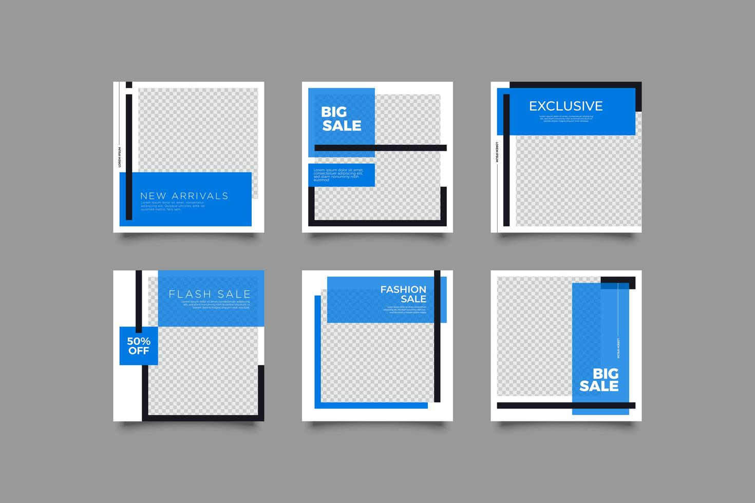 set di banner di social media cornice blu vettore