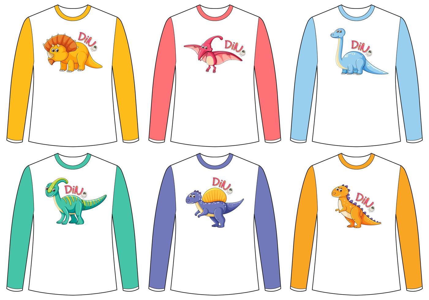 set di diversi schermi di dinosauro di colore su t-shirt a maniche lunghe vettore
