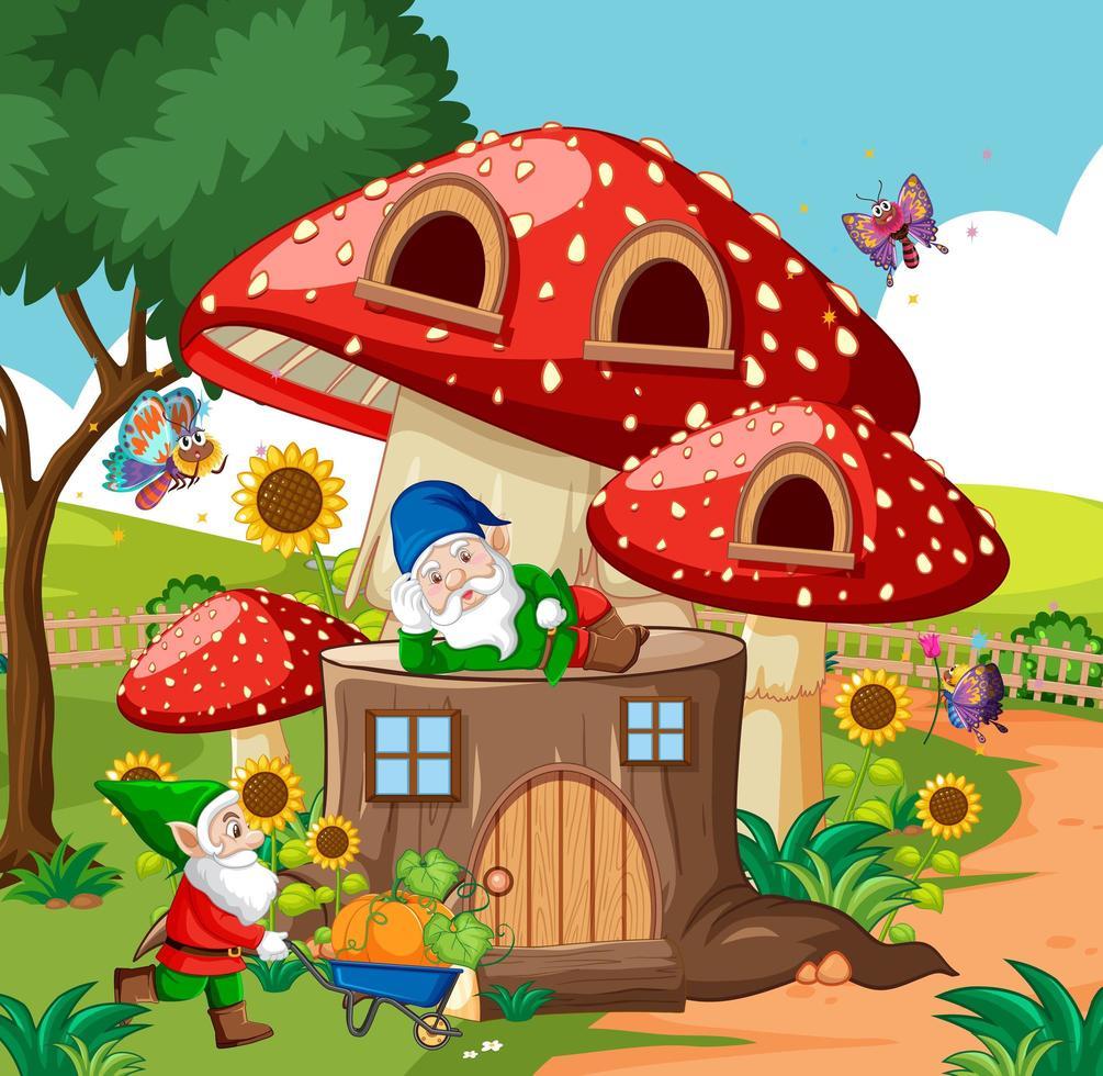 gnomi e casa dei funghi in legno e in giardino in stile cartone animato su sfondo giardino vettore