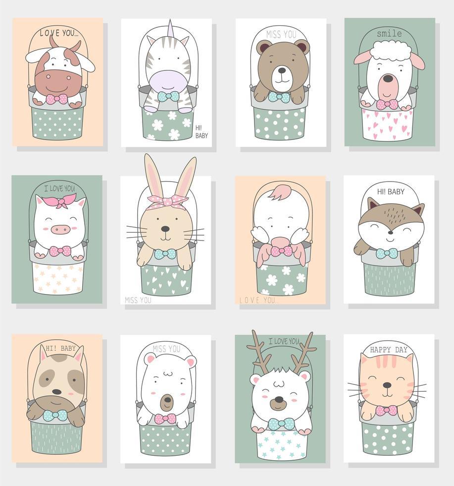 simpatici animaletti disegnati a mano in carte di secchi vettore