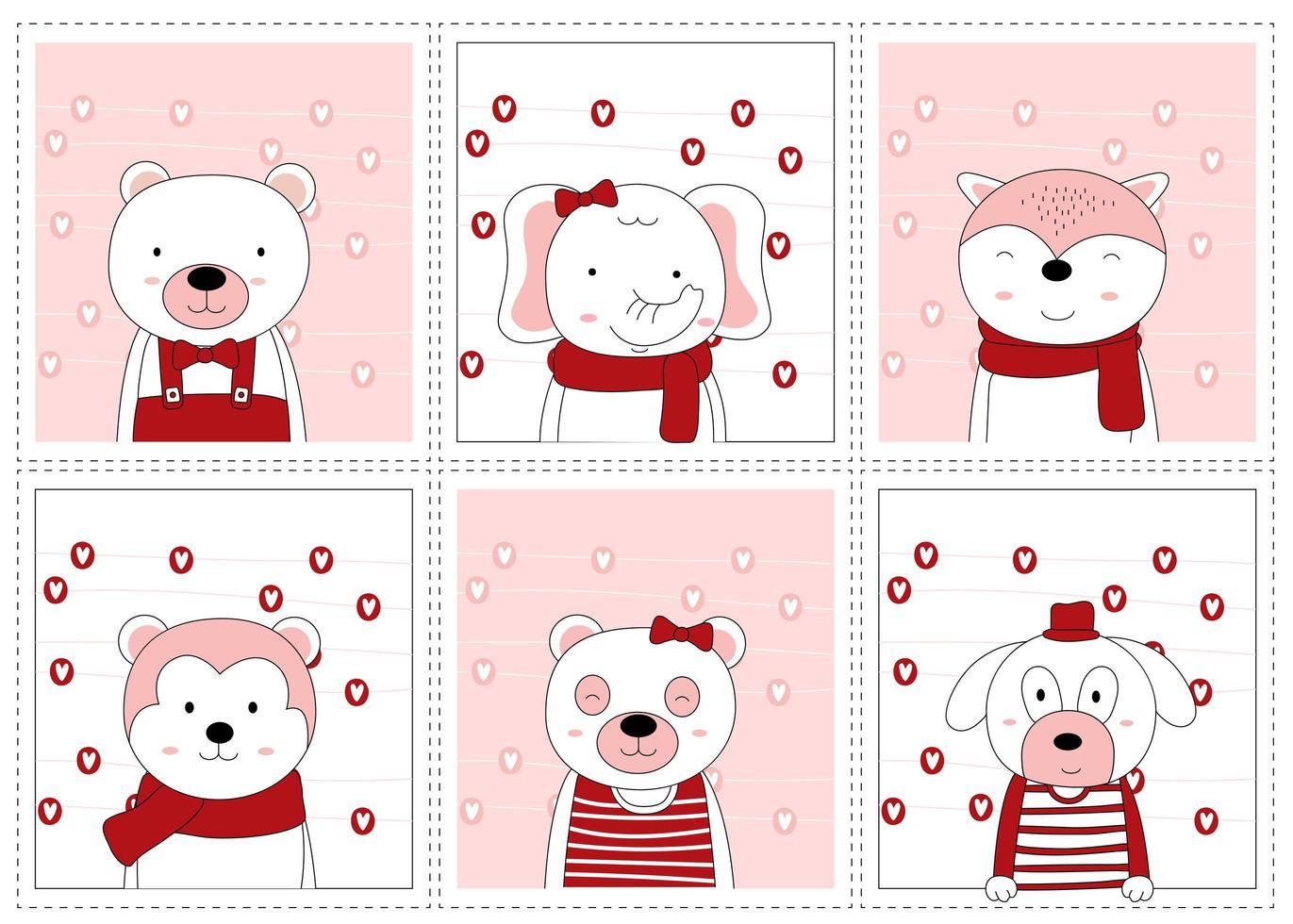 simpatici animali disegnati a mano di san valentino in cornici vettore