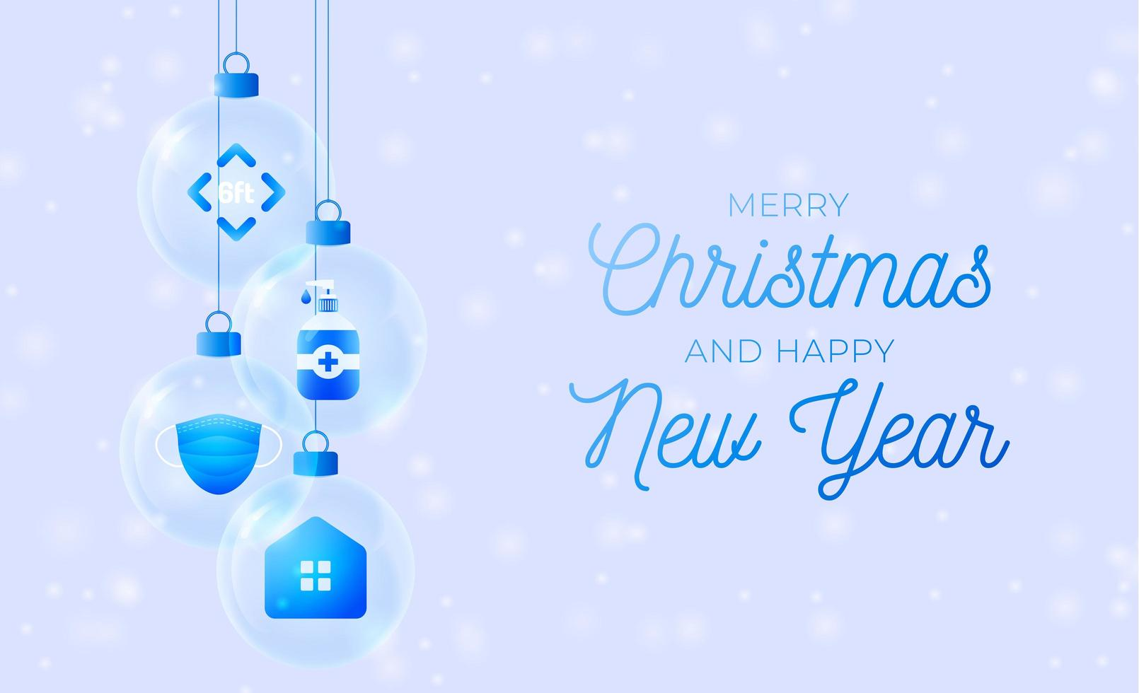 icone di coronavirus in palline di vetro banner natalizio vettore
