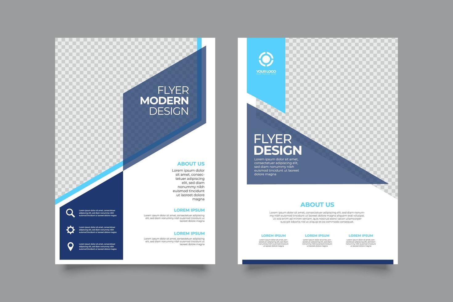 modello di layout copertina brochure aziendale con forme blu vettore