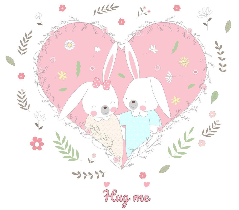 simpatici coniglietti nel cuore floreale vettore