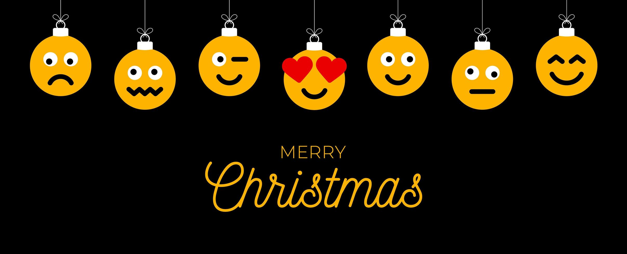auguri di Natale con ornamenti facciali emoji vettore