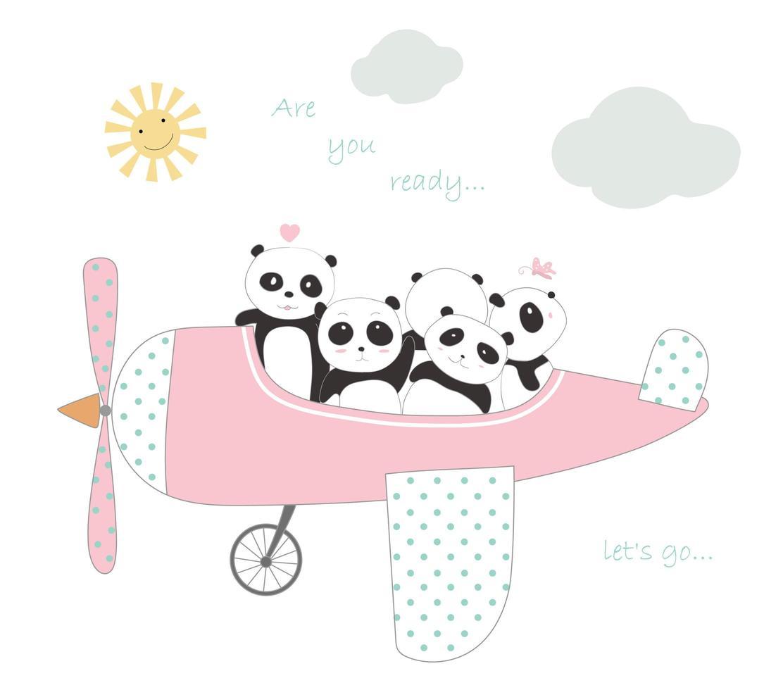 simpatici cuccioli di panda in aereo per viaggiare in vacanza vettore