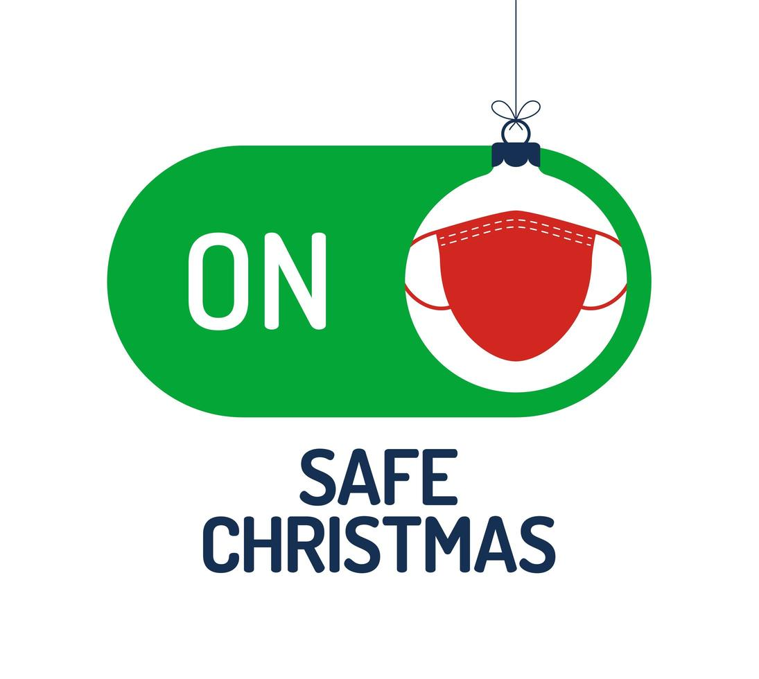 concetto di Natale sicuro con interruttore modalità sicura maschera facciale vettore