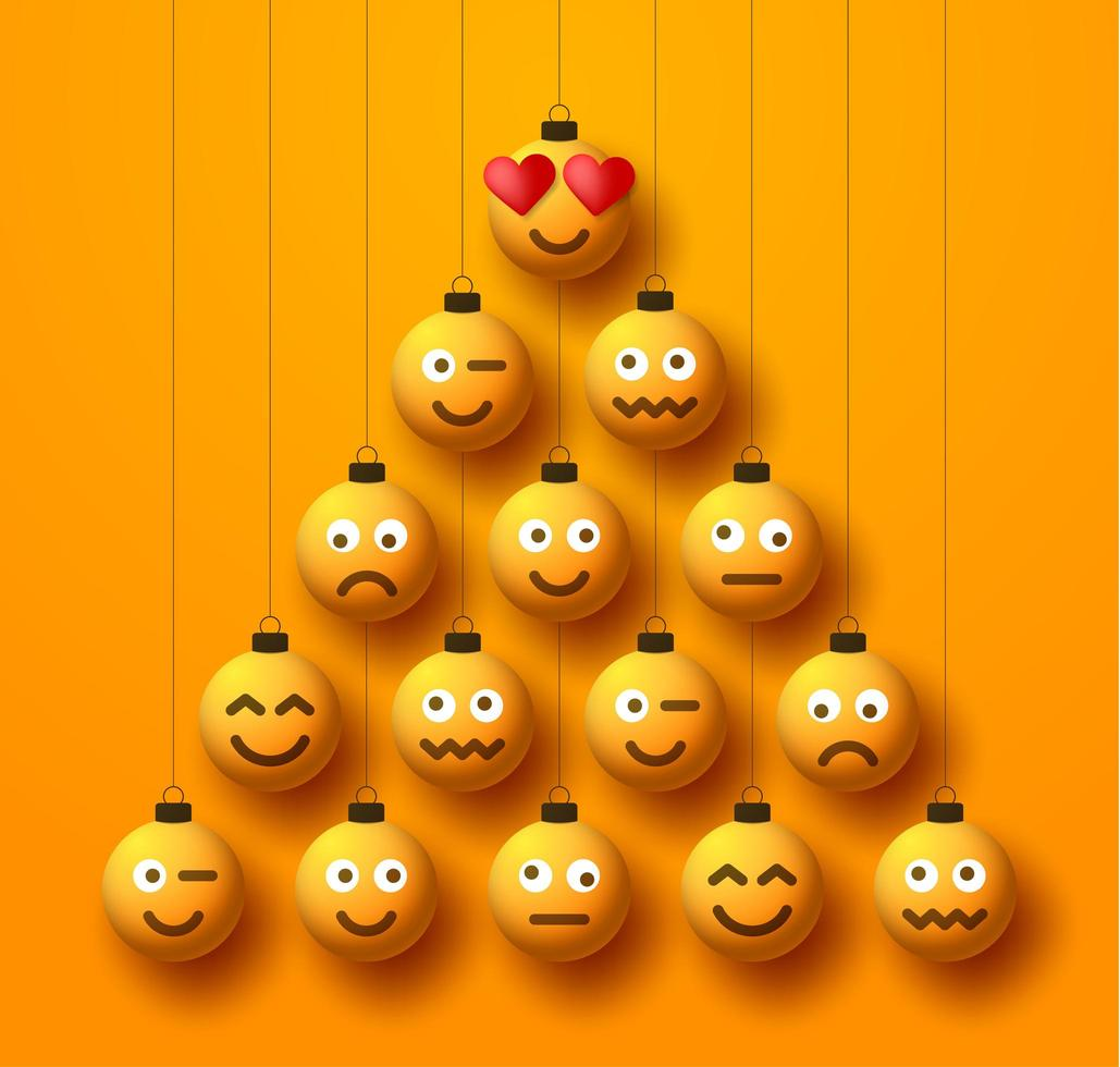 albero di natale creativo fatto di palline di pallina emoji vettore