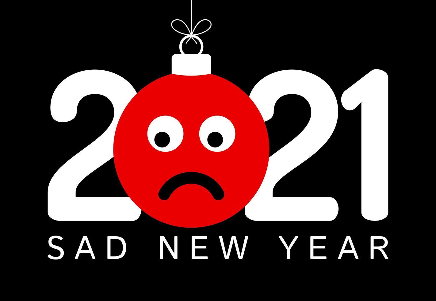 Saluto di capodanno 2021 con ornamento faccia triste emoji vettore
