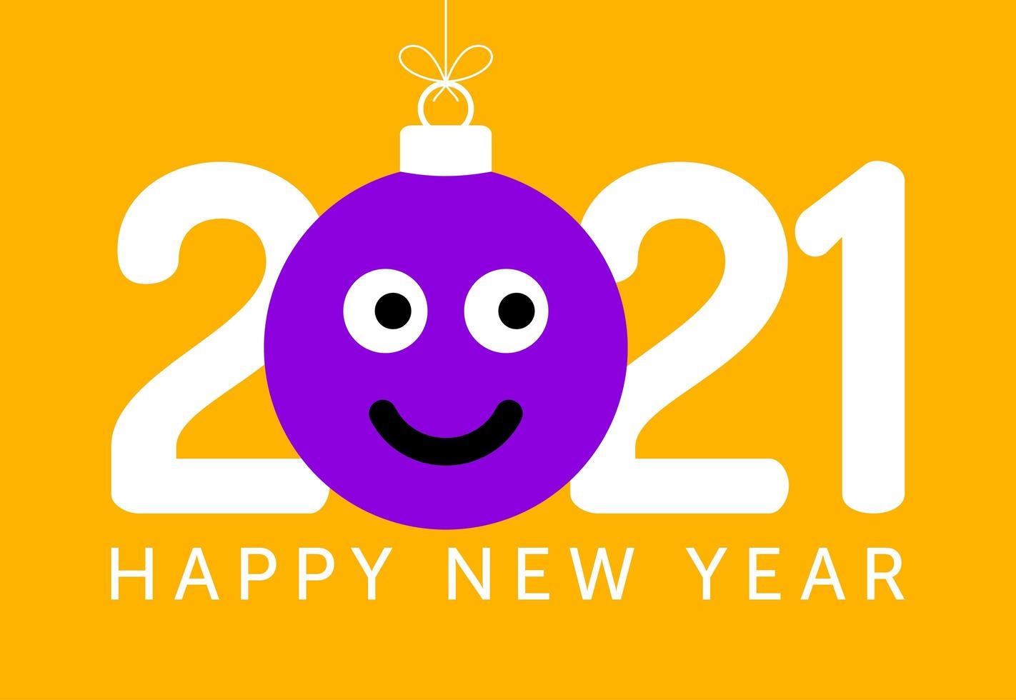 Saluto del nuovo anno 2021 con l'ornamento del viso sorridente di emoji vettore