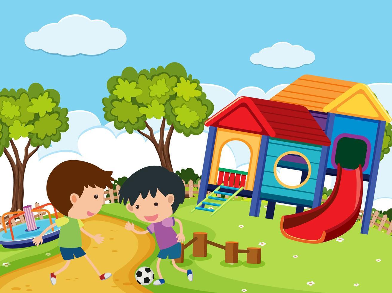scena con ragazzi che giocano a calcio nel parco vettore