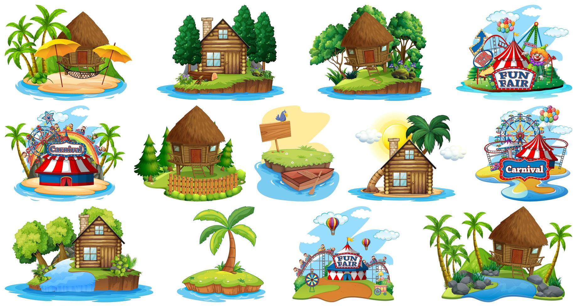 set di diversi bungalow e tema spiaggia dell'isola vettore