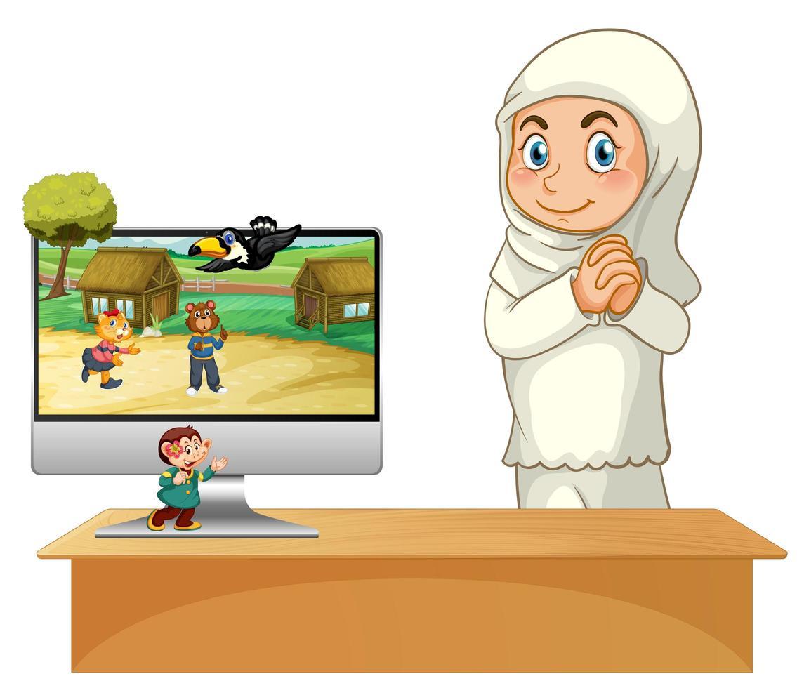 ragazza musulmana accanto al computer vettore