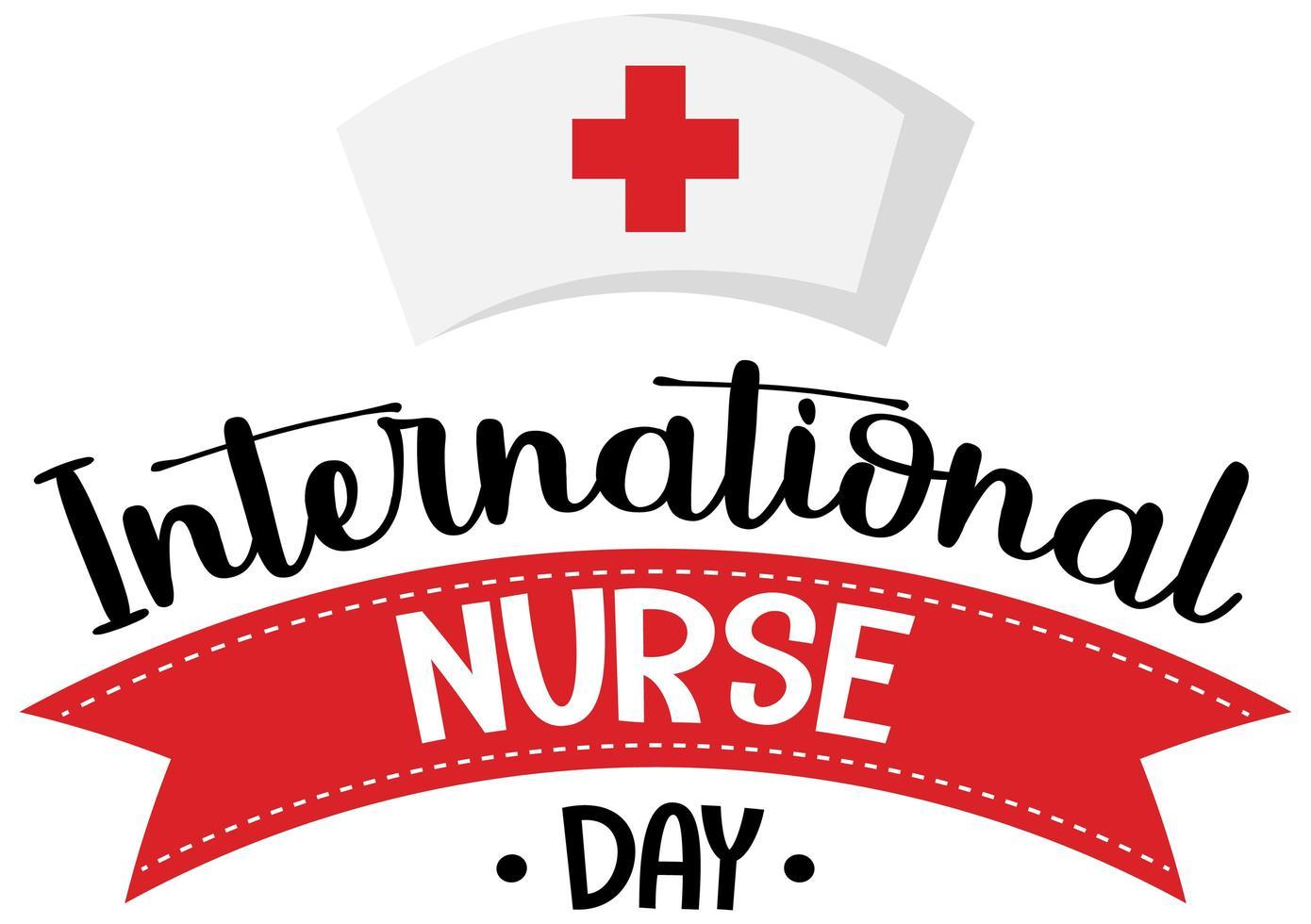 logo della giornata internazionale dell'infermiera con cappuccio da infermiera vettore