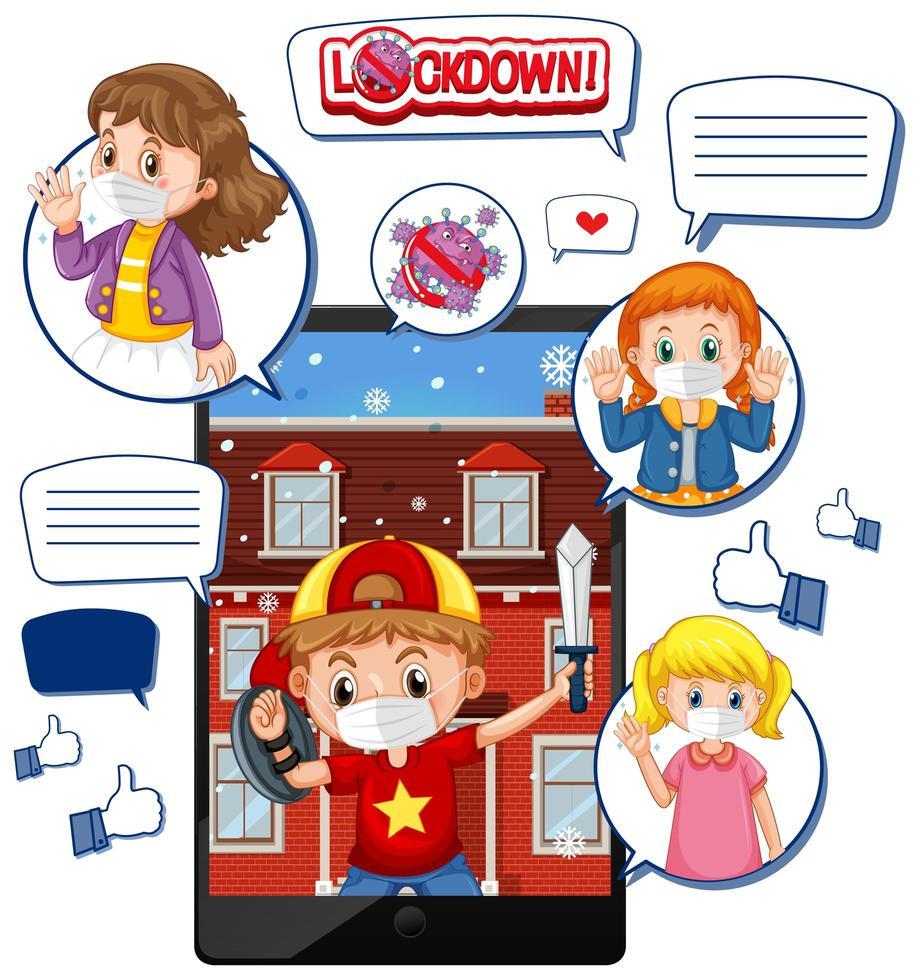 videochiamata tablet su blocco e corona virus con icona di social media su sfondo bianco vettore