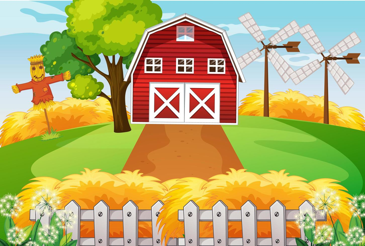 fattoria nella scena della natura con fienile e mulino a vento e spaventapasseri vettore
