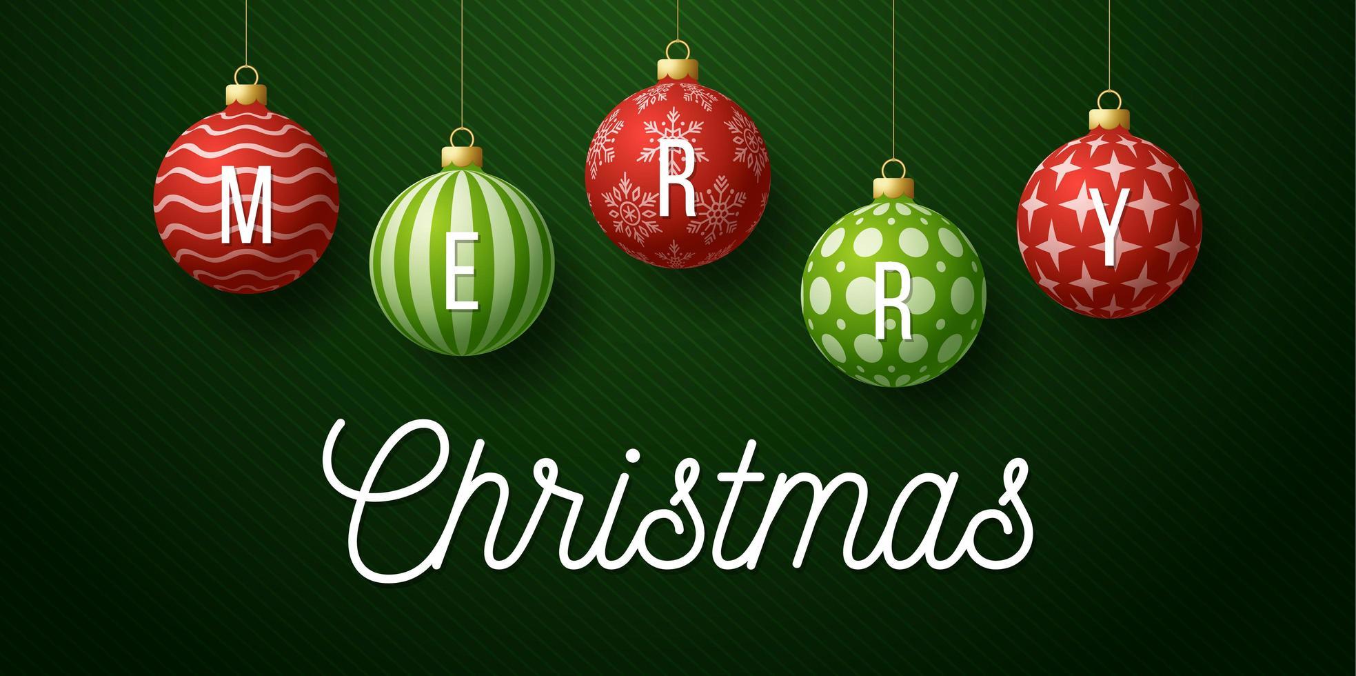 banner di Natale con ornamenti di palla rossa e verde decorati vettore