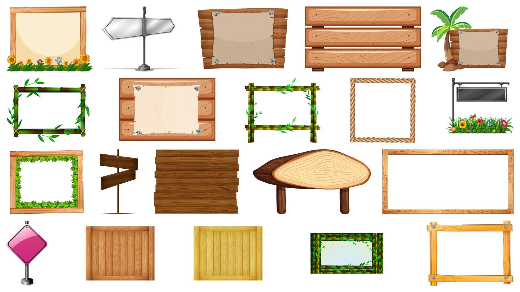 set di vari tipi di banner segno vettore