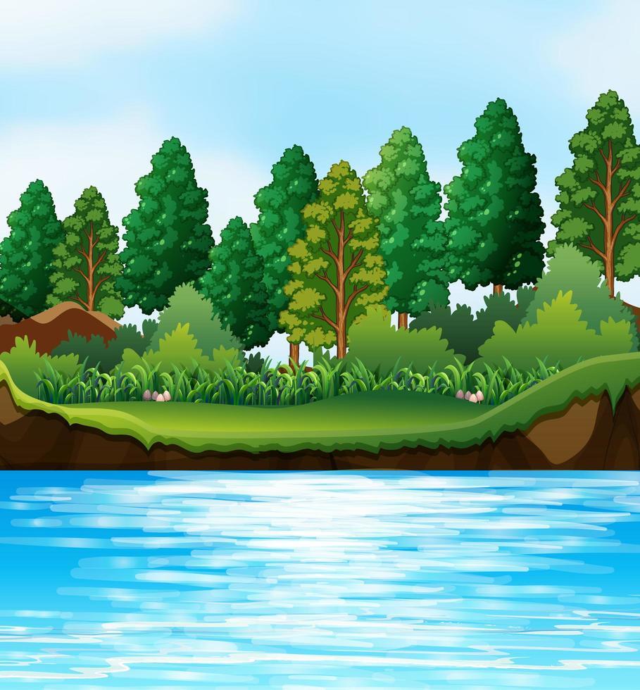 scena della natura del fiume putdoor vettore