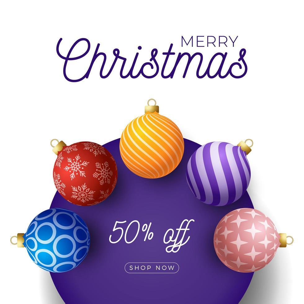 banner promozionale quadrato di Natale con ornamenti di palla vettore