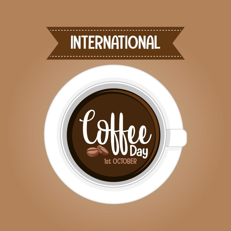 banner della lettera della giornata internazionale del caffè vettore