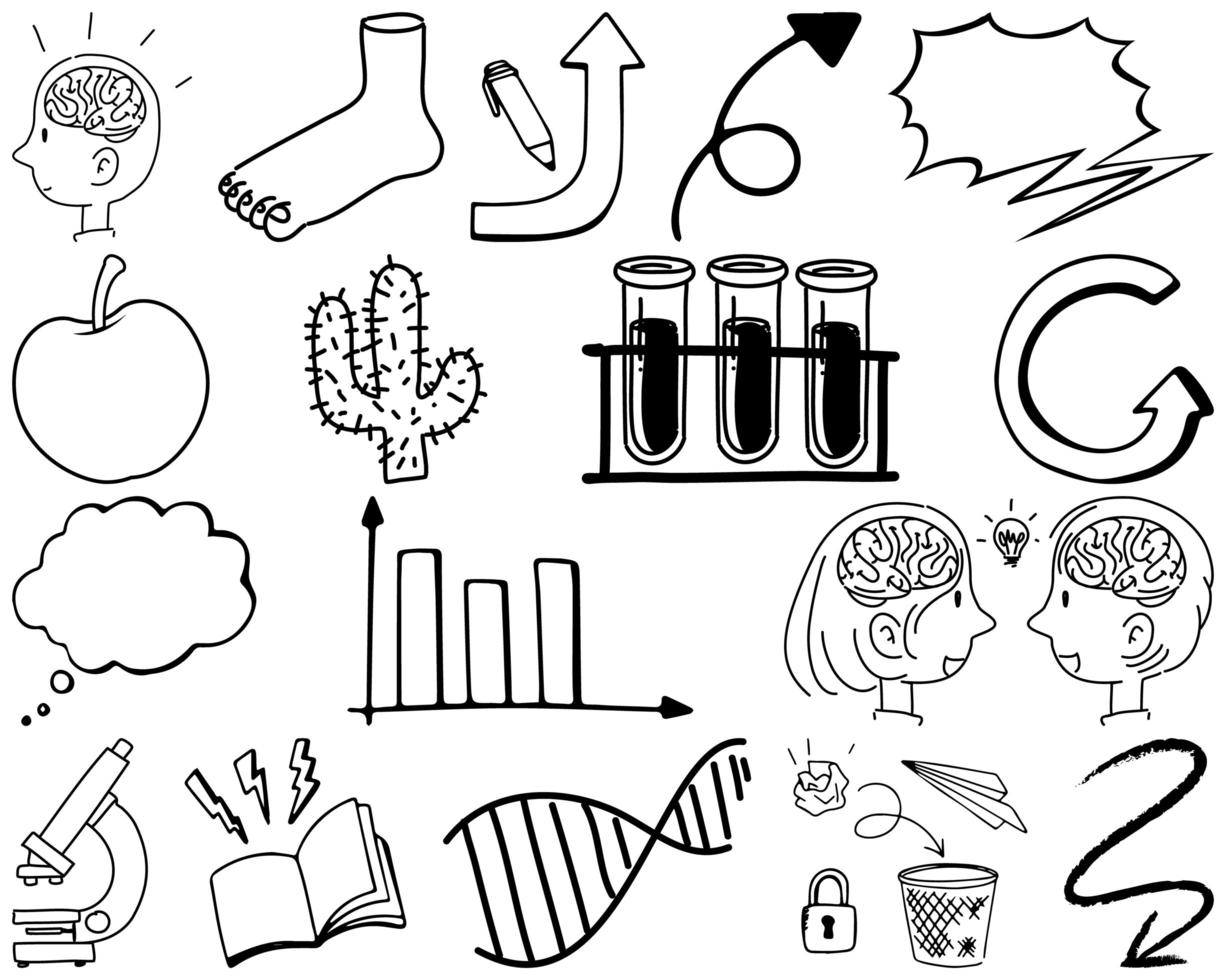 set di elementi e simboli disegnati a mano doodle vettore