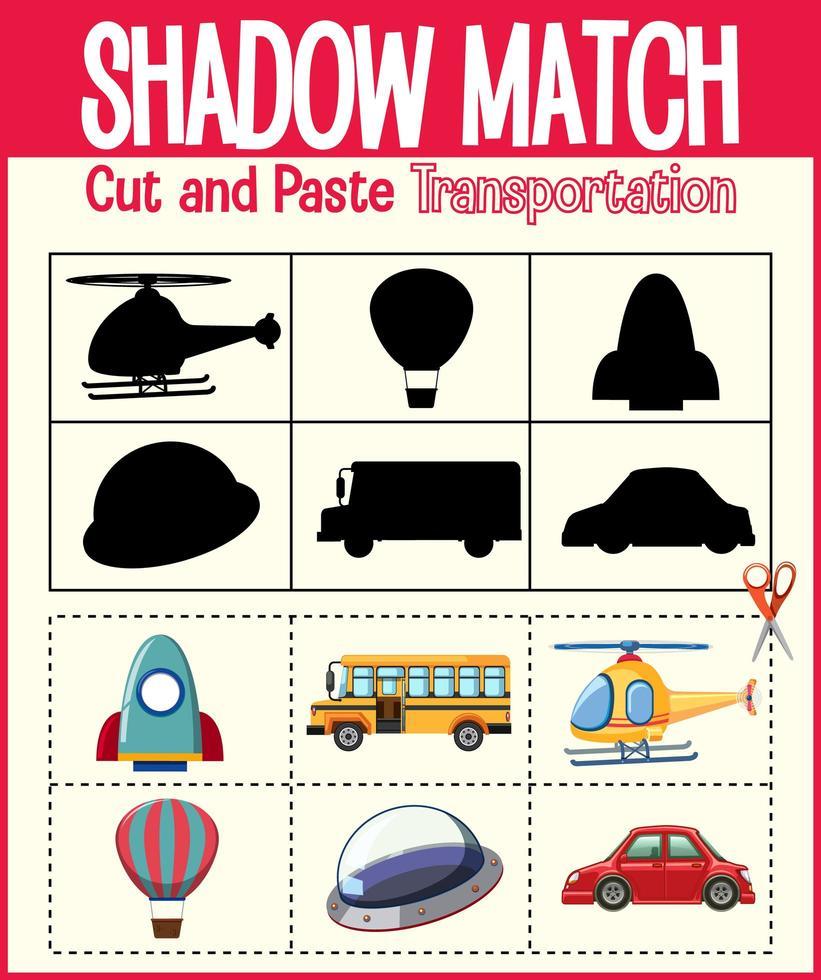 trova l'ombra corretta, il foglio di lavoro della corrispondenza dell'ombra per lo studente dell'asilo vettore