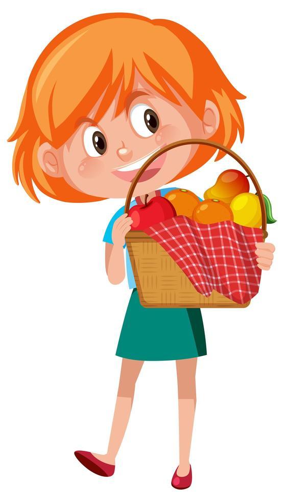 ragazza con personaggio dei cartoni animati di cestino da picnic isolato su priorità bassa bianca vettore