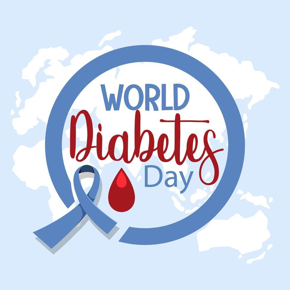 logo o banner della giornata mondiale del diabete con sangue vettore