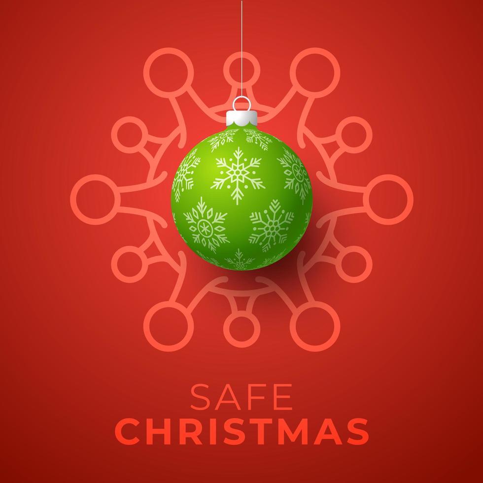 palla di Natale verde e cellula di coronavirus su rosso vettore