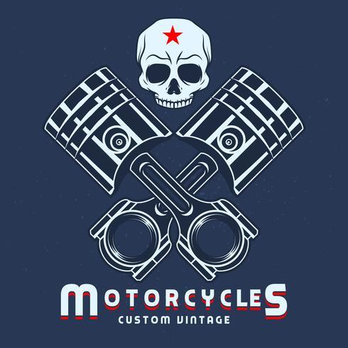 Etichette emblema vintage pistone con teschi bici vettore