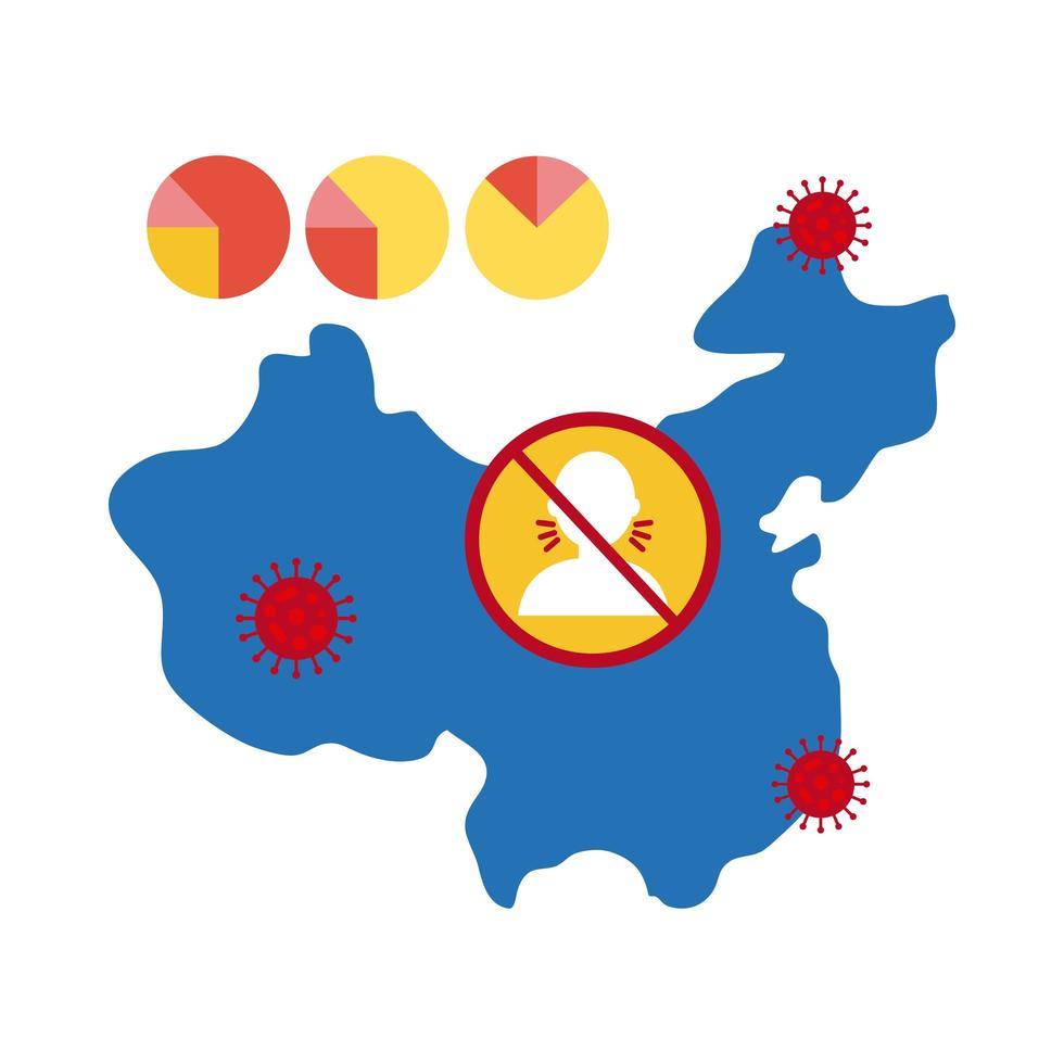 mappa cinese con icona infografica coronavirus vettore