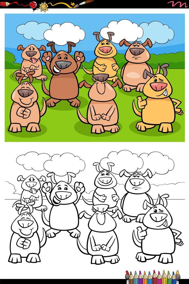 cartone animato divertente gruppo di cani da colorare pagina del libro vettore