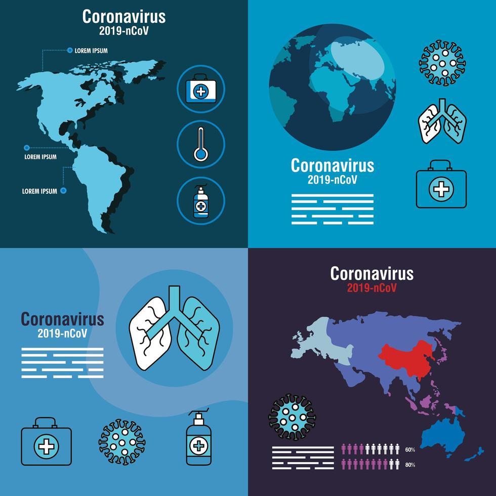 set di banner di prevenzione del coronavirus vettore