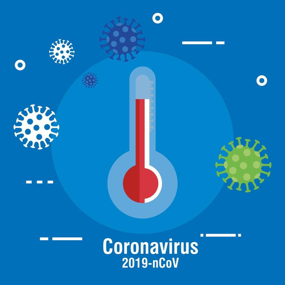 banner di prevenzione del coronavirus con termometro vettore