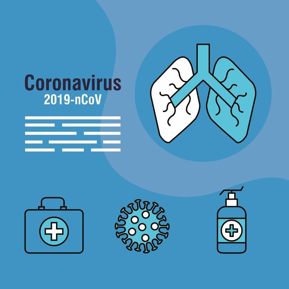 banner di prevenzione del coronavirus con icone mediche vettore
