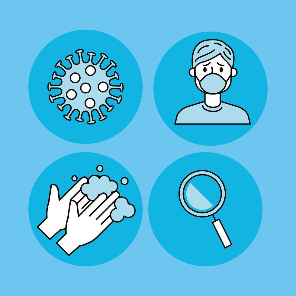 set di icone di prevenzione coronavirus vettore