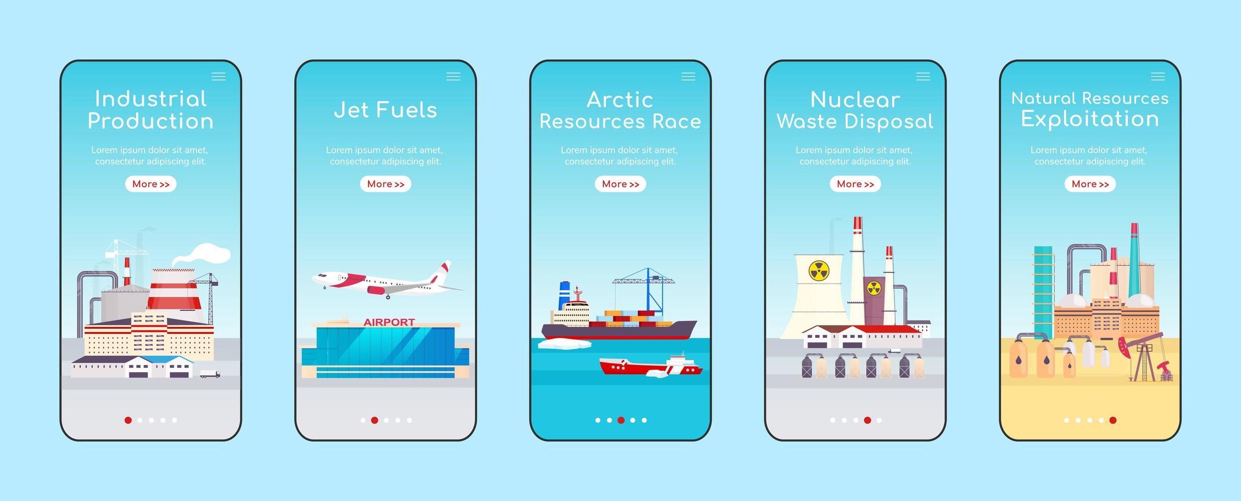 schermata dell'app mobile di onboarding di impianti industriali vettore