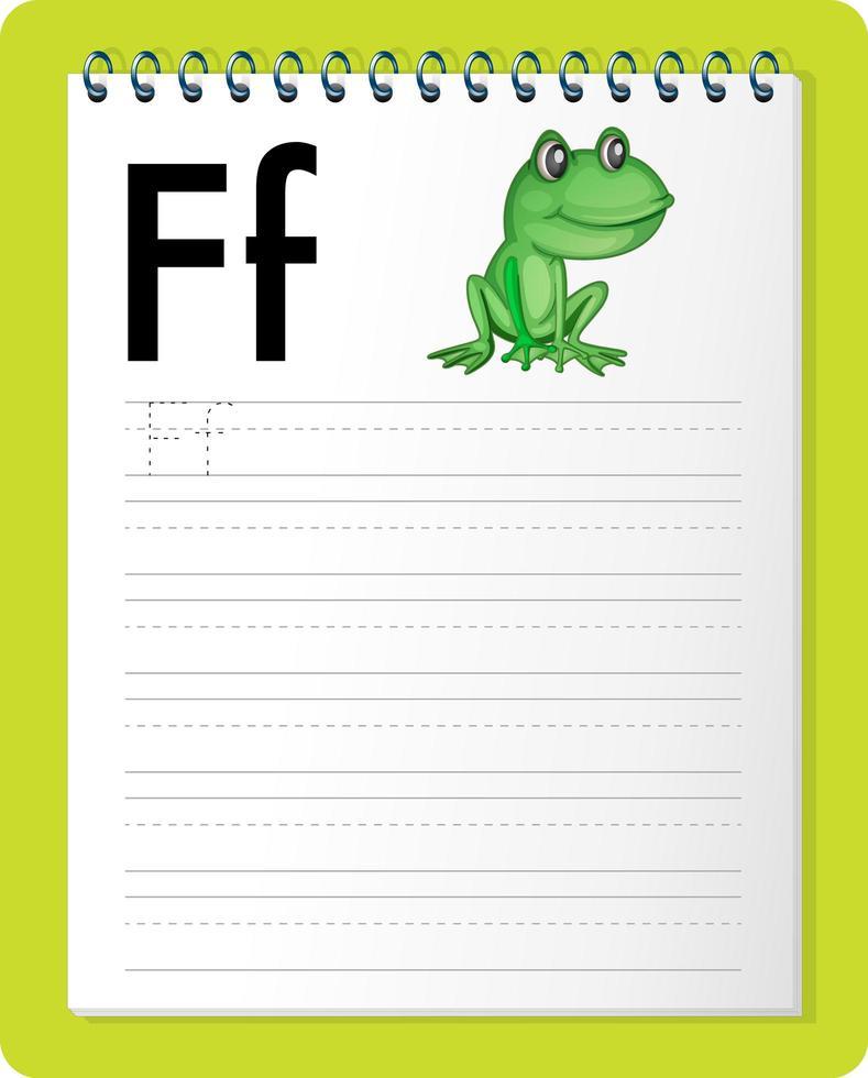 foglio di lavoro per tracciare l'alfabeto con la lettera f e f vettore