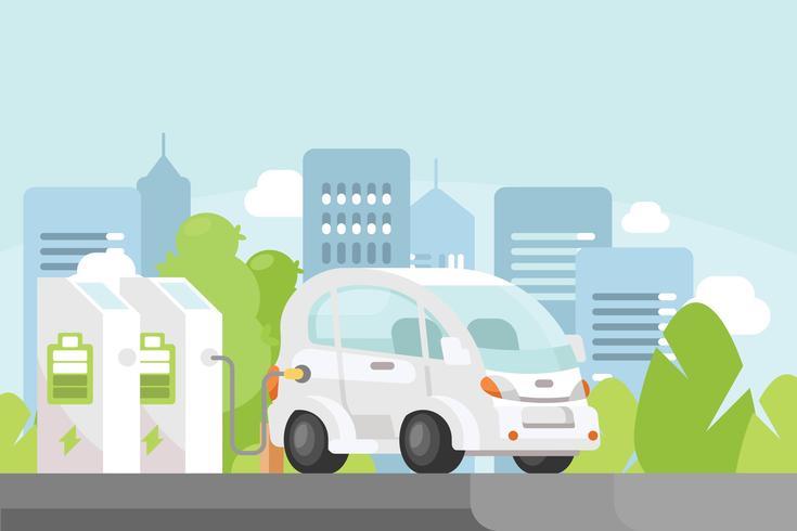Illustrazione di auto elettrica vettore