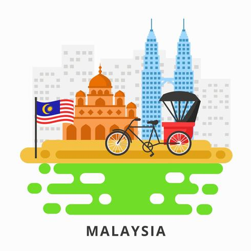 Malaysia con Twin Tower, Mosque e Trishaw Vector