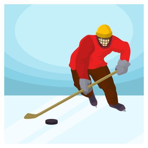 hockey invernale olimpica coreana piatta vettore