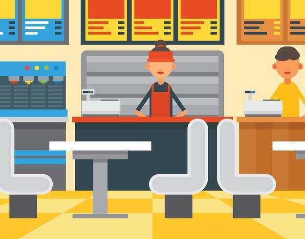 Illustrazione di food court vettore