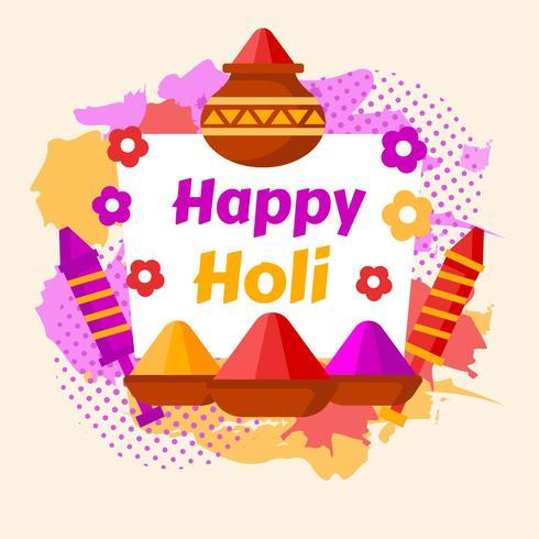 Happy Holi Festival of Colour Indian vettore