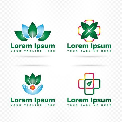 Insieme di progettazione di logo moderno di medicina e farmacia vettore