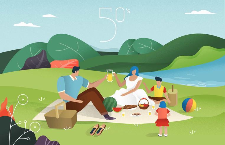 La famiglia felice d'annata gode dell'illustrazione di vettore di picnic