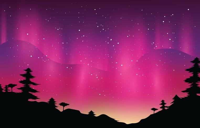 Aurora boreale magenta vettore
