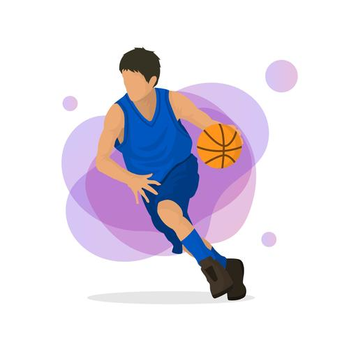 Illustrazione piana di vettore del giocatore di pallacanestro