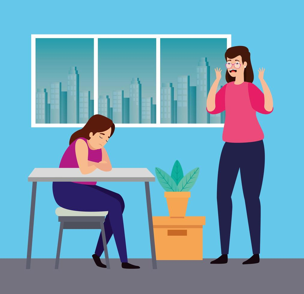 donne con attacchi di stress sul posto di lavoro vettore
